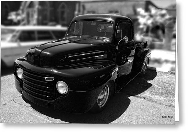 Antique F1 Chevy Truck Bw Greeting Card
