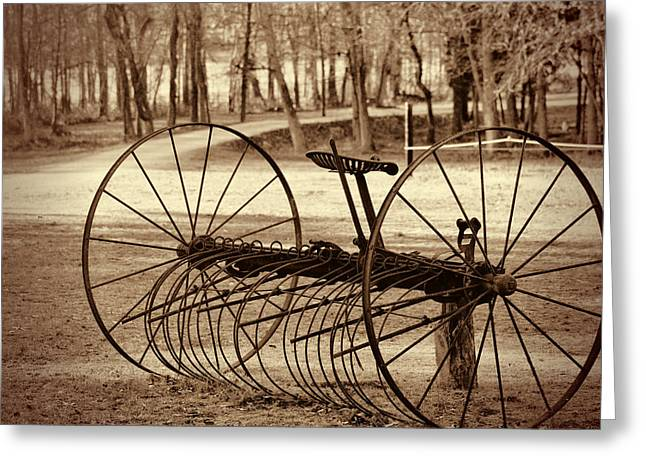 Antique Farm Rake In Sepia Greeting Card