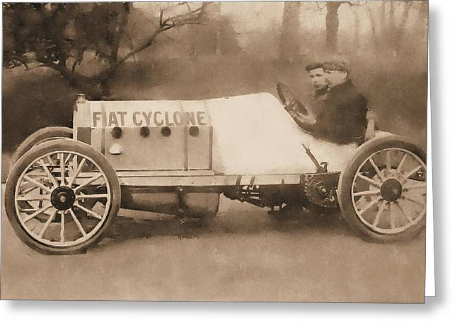 Antique Fiat Racer Sepia Greeting Card