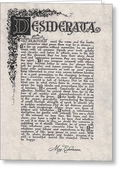 Antique Florentine Desiderata Poem By Max Ehrmann On Parchment Greeting Card by Desiderata Gallery