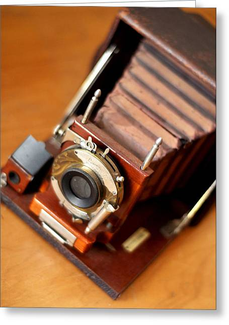 Antique Folding Camera Greeting Card by Rebecca Brittain