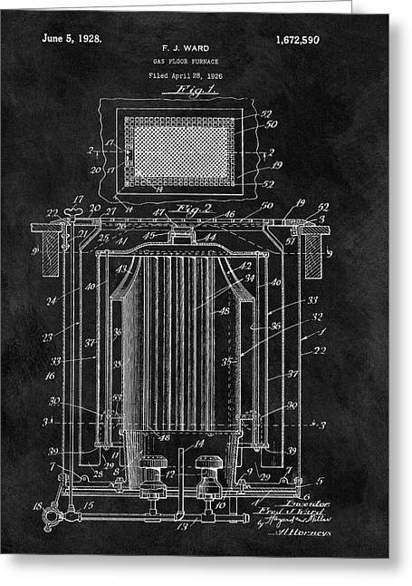 Antique Furnace Patent Greeting Card by Dan Sproul