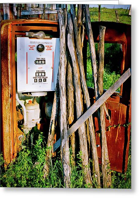 Antique Gas Pump Greeting Card by Linda Unger