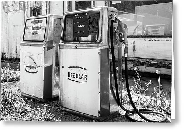 Antique Gas Pumps Greeting Card