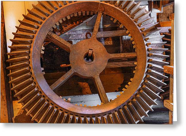 Antique Gear Greeting Card by Leland D Howard