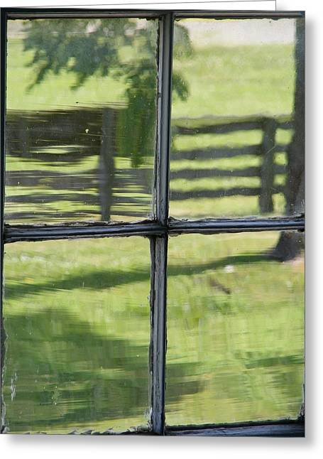 Antique Glass Window Greeting Card by Ed Smith
