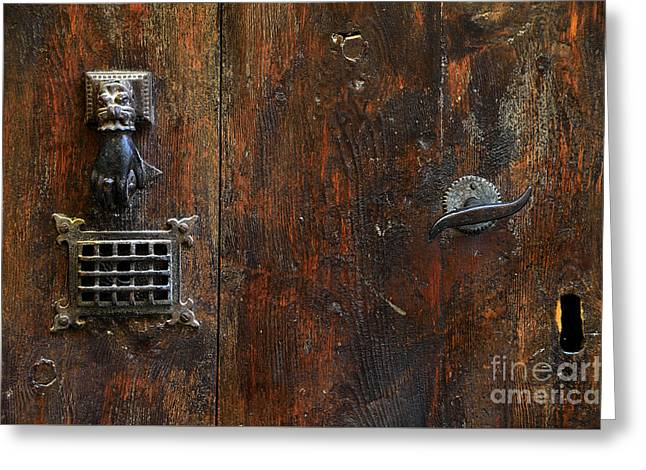 Antique Hand Door Knocker Spyhole Handle And Keyhole Greeting Card by RicardMN Photography