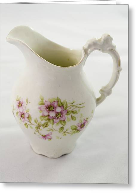 Antique Hand Painted Porcelain Pitcher. Greeting Card