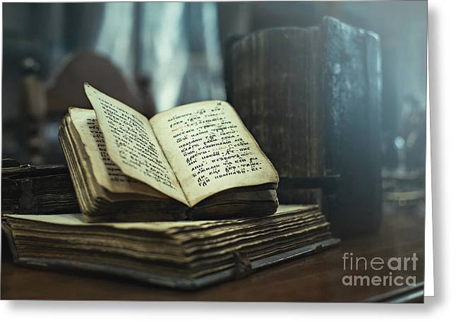 Antique Hardcover Books Of 16th Century A.d. With Old Religious Texts Greeting Card