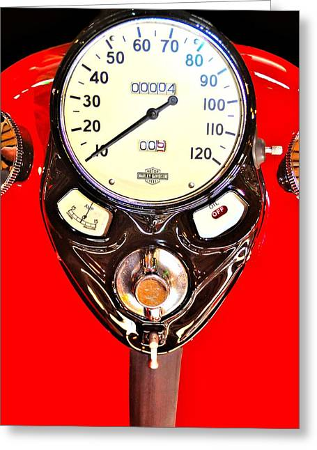Antique Harley Fuel Tank Greeting Card by William Jones