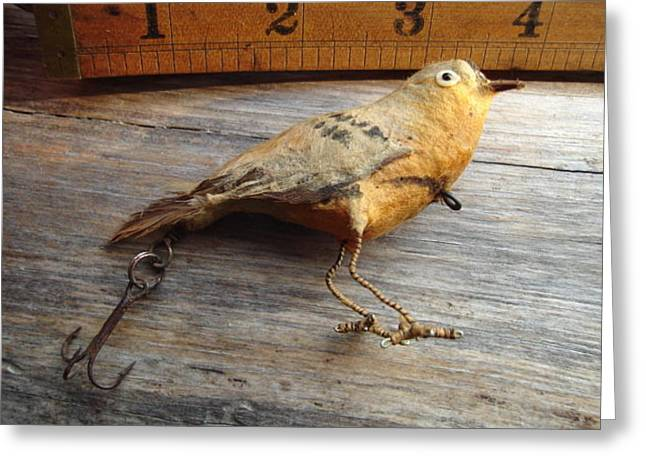Antique Home Made Bird Lure Greeting Card by Shawn Thomas