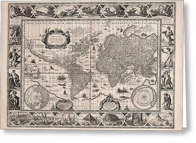 Antique Illustrated Map Of The World - Rivers Of The World - Illustrated Chart - Old Map Greeting Card
