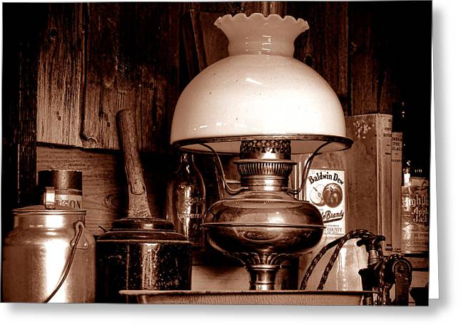 Antique Kerosene Lamp In A Kitchen Greeting Card by Olivier Le Queinec