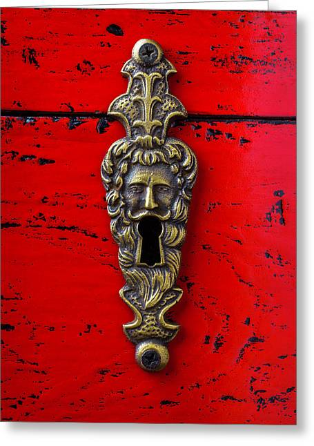 Antique Key Hole On Red Box Greeting Card by Garry Gay