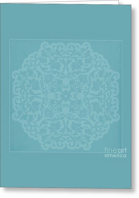 Antique Lace Silhouette In Deep Tiffany Blue Green Greeting Card by Tina Lavoie