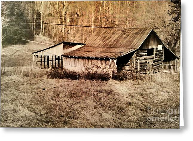 Antique Log Beam Barn Southern Indiana Greeting Card by Scott D Van Osdol