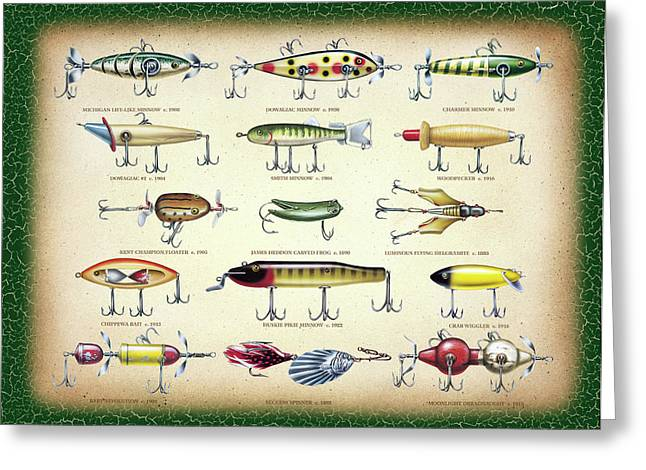 Antique Lures Green Crackle Greeting Card by JQ Licensing