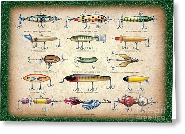 Antique Lures Panel Greeting Card by JQ Licensing