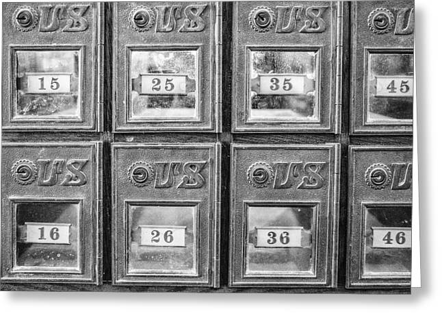 Antique Mailbox Black And White Greeting Card