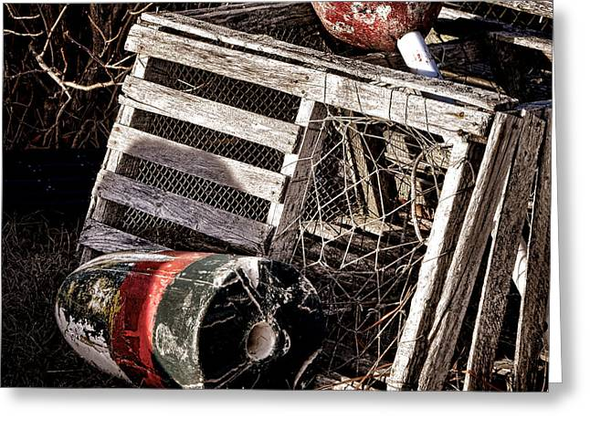 Antique Maine Lobster Trap  Greeting Card by Olivier Le Queinec
