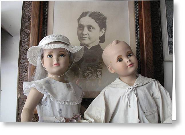 Vintage Antique Male And Female Porcelain Doll Faces  Greeting Card by Kathy Fornal