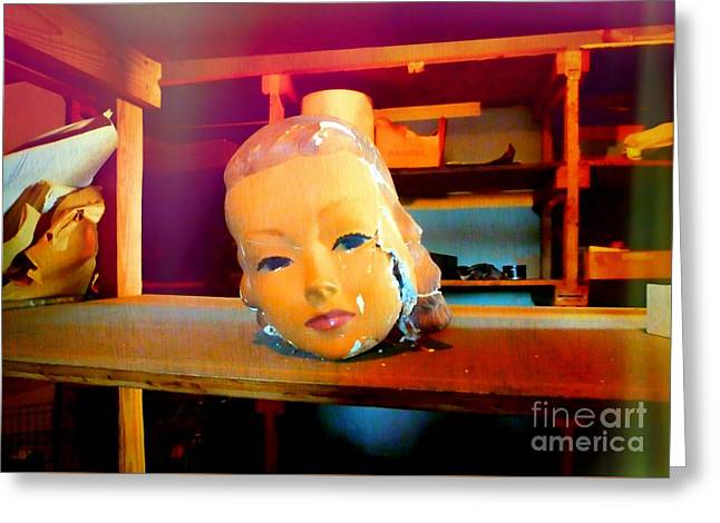 Antique Mannequin Head In Old Storage Room Greeting Card