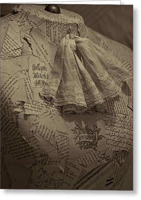 Antique Mannequin With Collage Of Vintage Papers Greeting Card by Mitch Spence