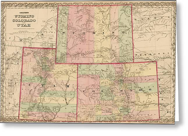 Antique Map - Colton's Wyoming Colorado And Utah 1876 Greeting Card by  CB Colton