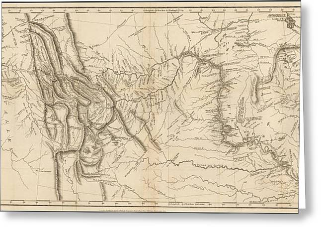 Antique Map - Lewis And Clark's Track Across North America Greeting Card by Meriwether Lewis and William Clark