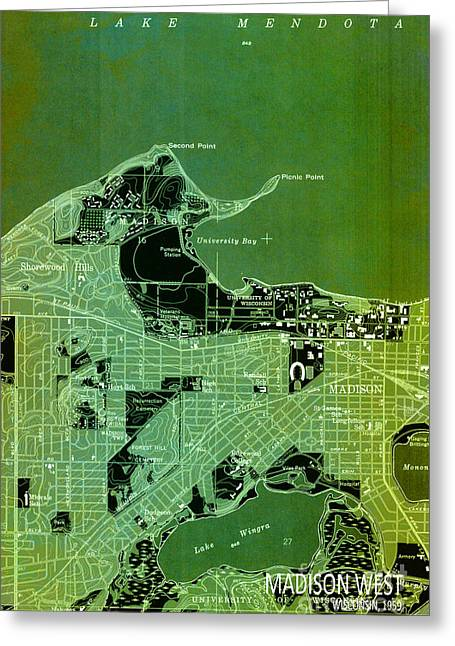 print Mixed Media Greeting Cards - Antique Map, Madison City Greeting Card by Pablo Franchi