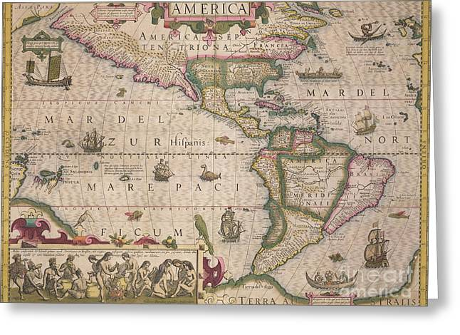 Historic Drawings Greeting Cards - Antique Map of America Greeting Card by Jodocus Hondius