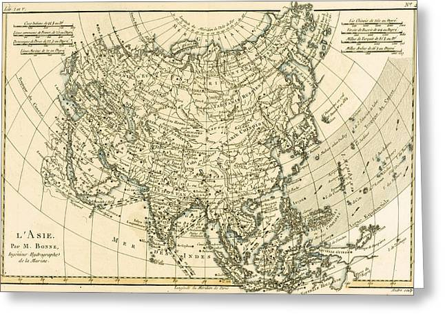Border Drawings Greeting Cards - Antique Map of Asia Greeting Card by Guillaume Raynal