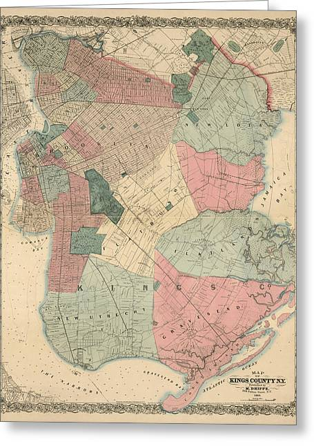 Greeting Card featuring the drawing Antique Map Of Brooklyn - New York City - By M. Dripps - 1868 by Blue Monocle