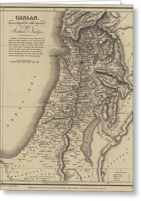 Antique Map Of Canaan Greeting Card