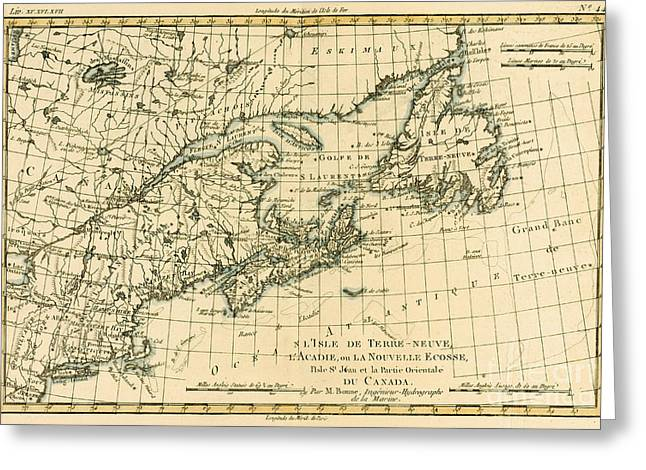 Les Greeting Cards - Antique Map of Eastern Canada Greeting Card by Guillaume Raynal