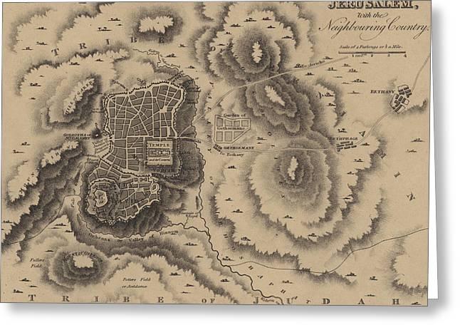 Antique Map Of Jerusalem Greeting Card