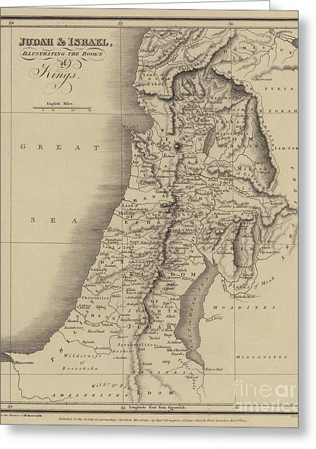 Antique Map Of Judah And Israel Greeting Card by English School