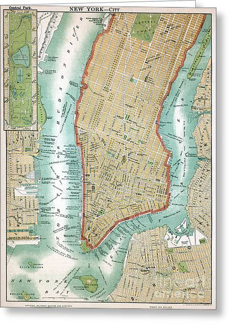 Antique Map Of Lower Manhattan And Central Park Greeting Card
