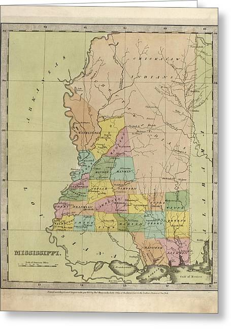 Antique Map Of Mississippi By David Burr - 1835 Greeting Card by Blue Monocle