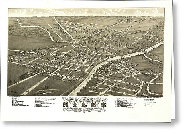 Antique Map Of Niles Ohio 1882 Greeting Card