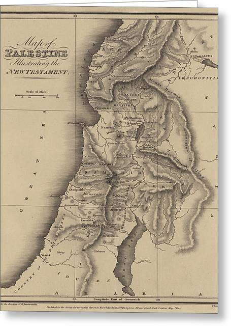 Antique Map Of Palestine Greeting Card