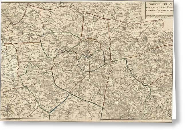 Antique Map Of Paris France And Surroundings By Jacques Esnauts - 1811 Greeting Card by Blue Monocle