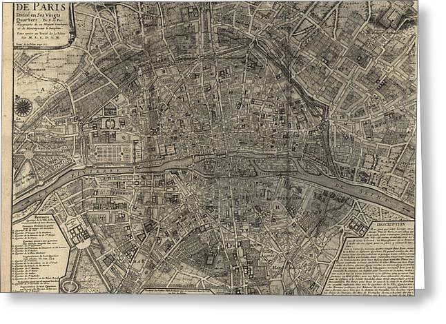 Antique Map Of Paris France By Nicolas De Fer - 1705 Greeting Card