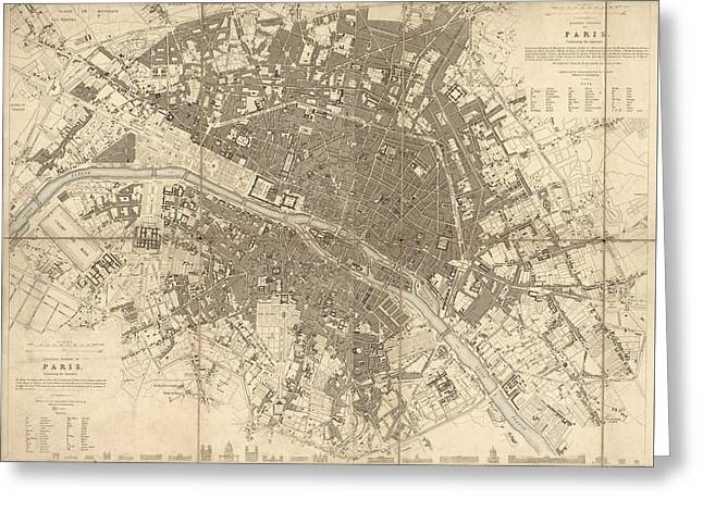 Antique Map Of Paris France By The Society For The Diffusion Of Useful Knowledge - 1834 Greeting Card by Blue Monocle