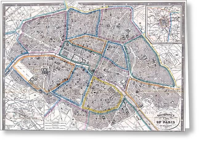 Antique Map Of Paris Greeting Card by Giovanni Antonio Galignani