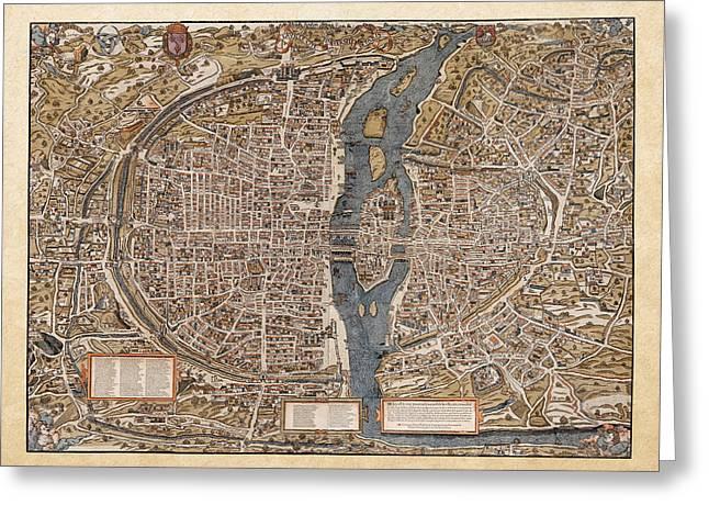 Antique Map Of Paris Greeting Card by Serge Averbukh