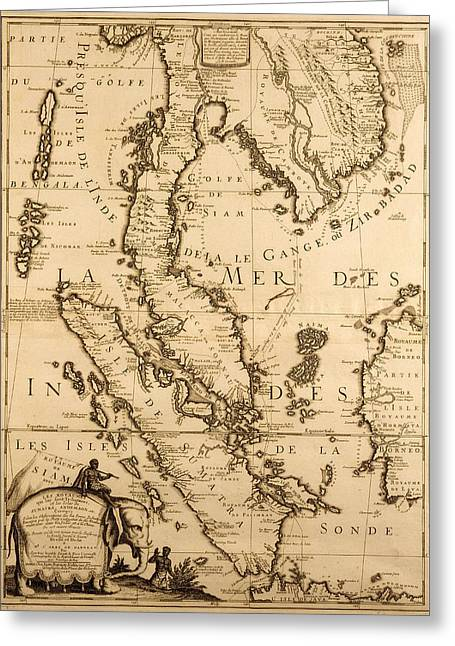Border Drawings Greeting Cards - Antique Map of South East Asia Greeting Card by French School