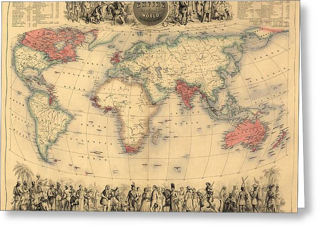 Antique Map Of The British Empire Circa 1870 Greeting Card by English School