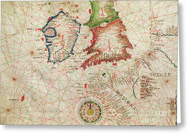 Antique Map Of The French Coast, England, Scotland And Ireland, From A Nautical Atlas, 1520  Greeting Card