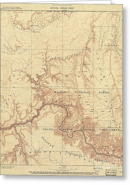 Antique Map Of The Grand Canyon Greeting Card